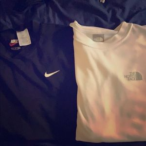 Two medium long sleeves( north face and Nike)
